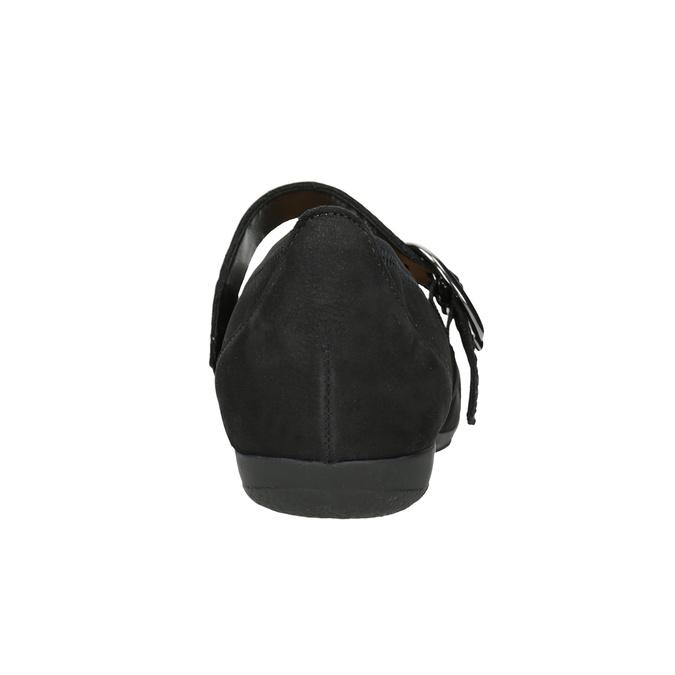 Kožené baleríny s páskem přes nárt gabor, černá, 514-6118 - 16