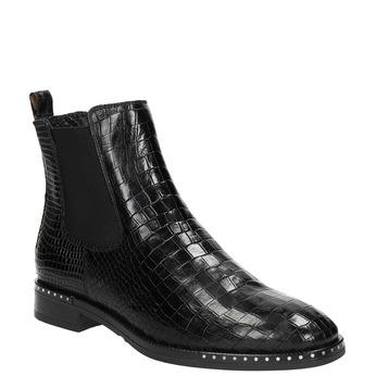 Kožená dámská Chelsea obuv se strukturou bata, černá, 596-6678 - 13