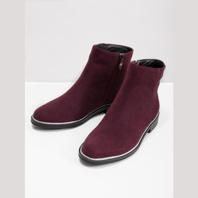 Kotníčková obuv z broušené kůže bata, červená, 593-5603 - 18