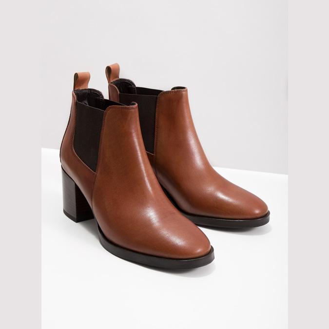 Kotníčková kožená obuv na podpatku bata, hnědá, 694-4641 - 14