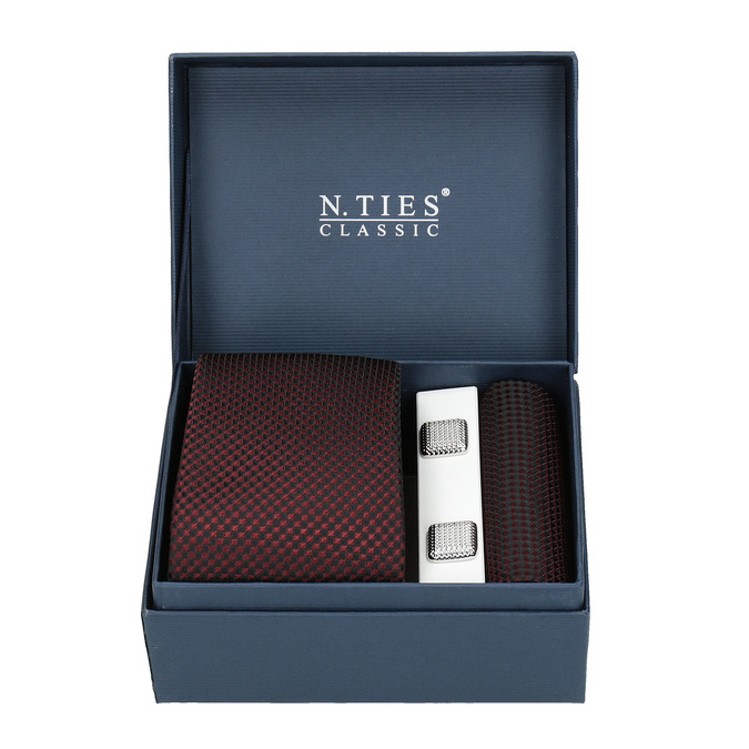 Sada kravaty, kapesníčku a manžetových knoflíčků n-ties, červená, 999-5293 - 13