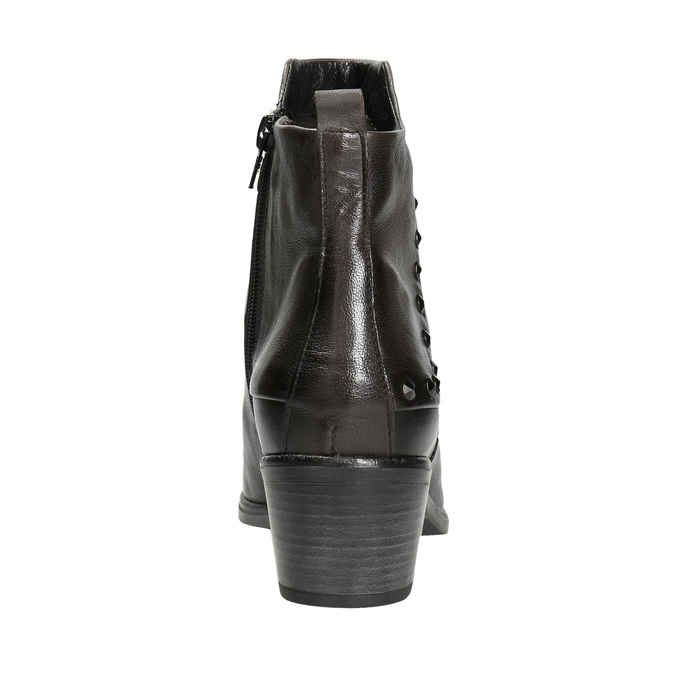 Kotníčková kožená obuv s kovovými cvoky bata, černá, 696-6652 - 16