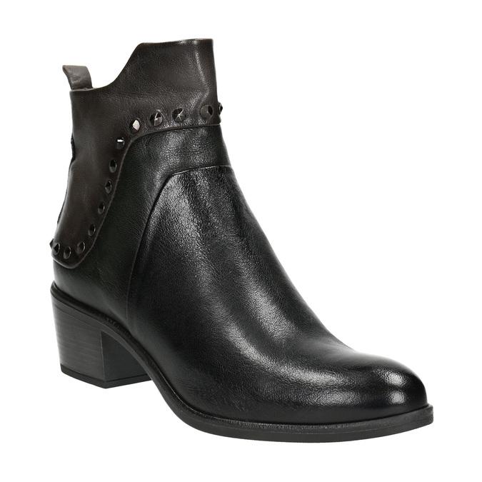 Kotníčková kožená obuv s kovovými cvoky bata, černá, 696-6652 - 13
