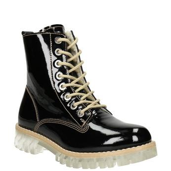 Lakovaná kotníčková obuv s masivní podešví weinbrenner, černá, 598-6604 - 13