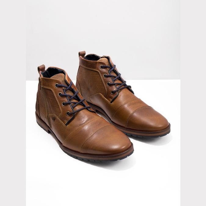 Kožená kotníčková obuv se zipem bata, hnědá, 826-3911 - 14