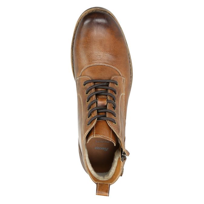 Hnědá kožená kotníčková obuv bata, hnědá, 896-3684 - 26