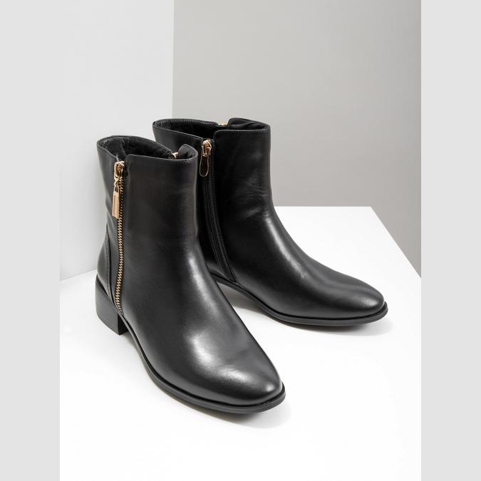 Kožená kotníčková obuv se zlatými zipy bata, černá, 594-6654 - 18