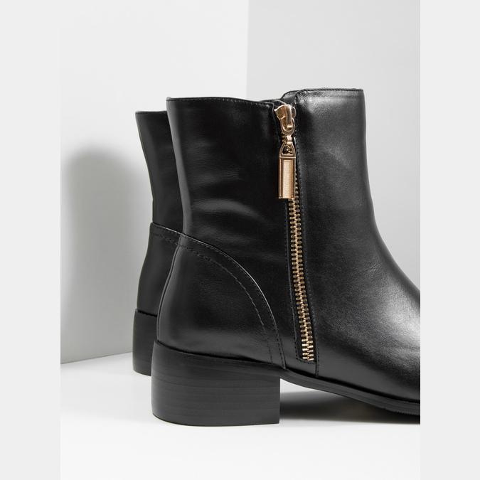 Kožená kotníčková obuv se zlatými zipy bata, černá, 594-6654 - 14
