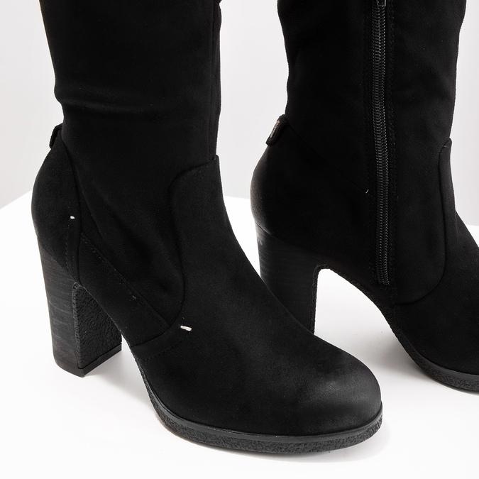 Černé dámské kozačky na podpatku bata, černá, 799-6614 - 14