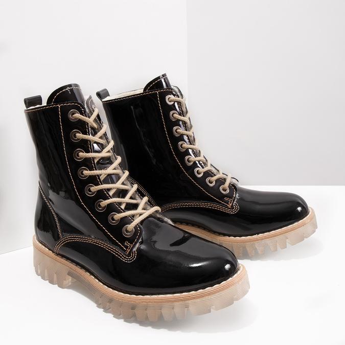 Lakovaná kotníčková obuv s masivní podešví weinbrenner, černá, 598-6604 - 18