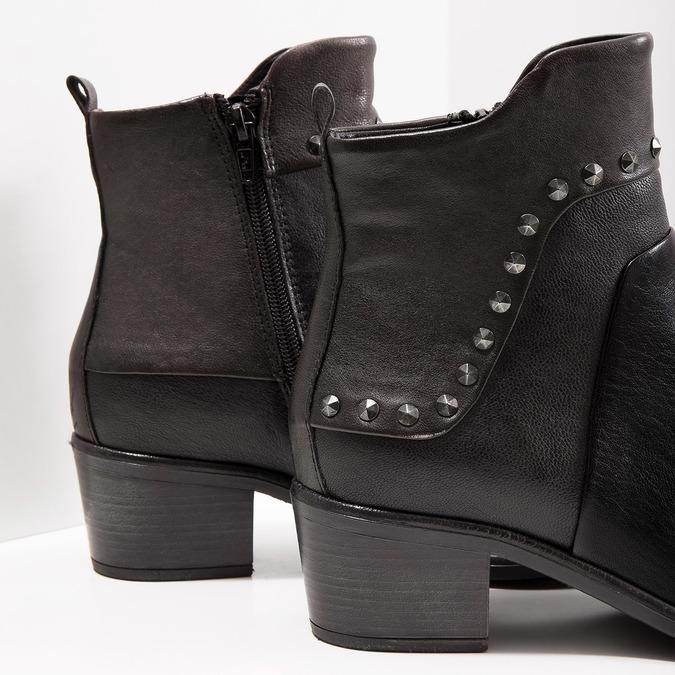 Kotníčková kožená obuv s kovovými cvoky bata, černá, 696-6652 - 14