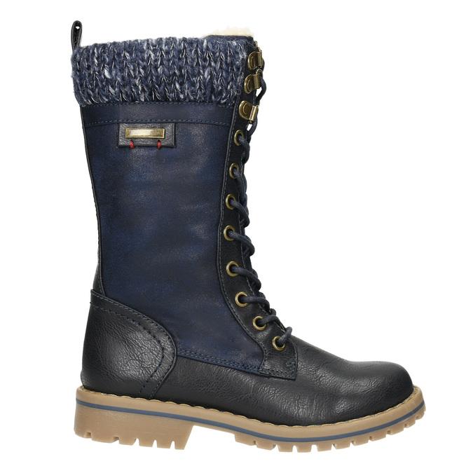 Dívčí zimní obuv s úpletem mini-b, modrá, 391-9657 - 15