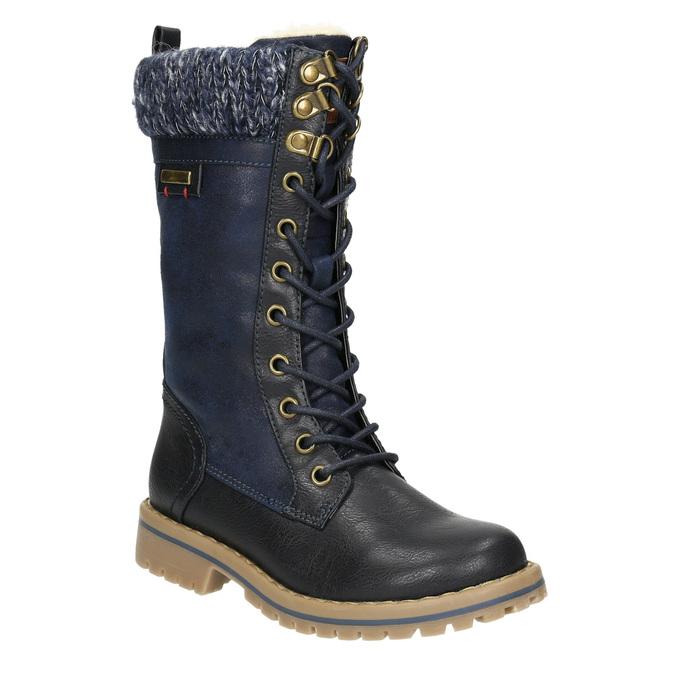 Dívčí zimní obuv s úpletem mini-b, modrá, 391-9657 - 13