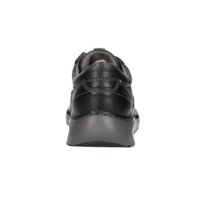 Pánské kožené polobotky s prošitím clarks, černá, 826-6024 - 16