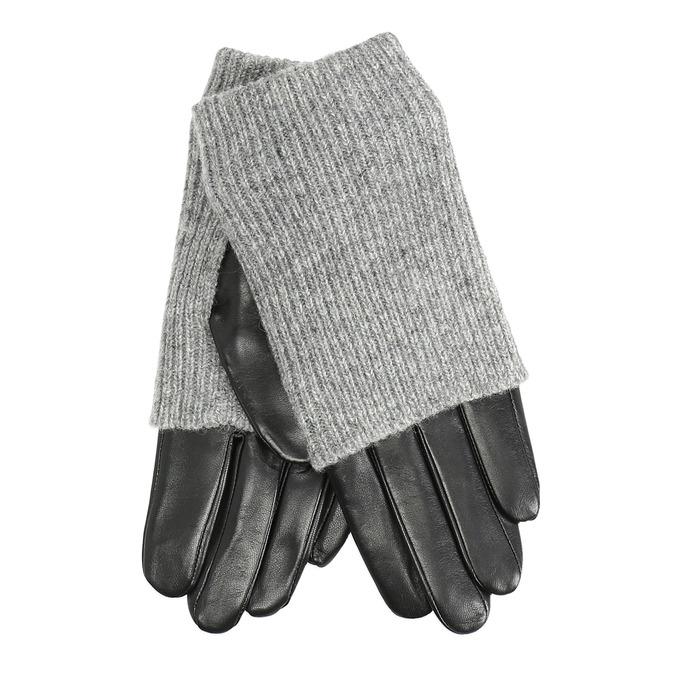 Kožené rukavice se svetrovým detailem bata, šedá, 904-2125 - 13