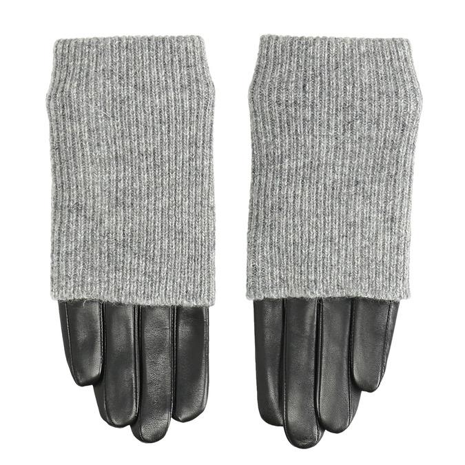 Kožené rukavice se svetrovým detailem bata, šedá, 904-2125 - 26