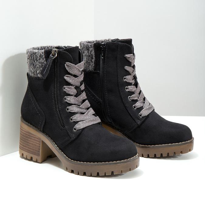 Kotníčková obuv na masivním podpatku bata, černá, 699-6633 - 18