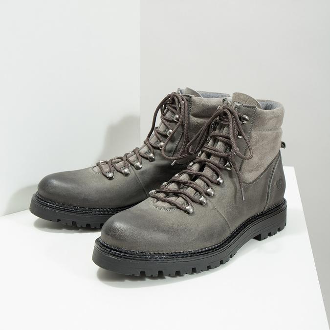 Kotníčková dámská kožená obuv weinbrenner, šedá, 596-2672 - 18