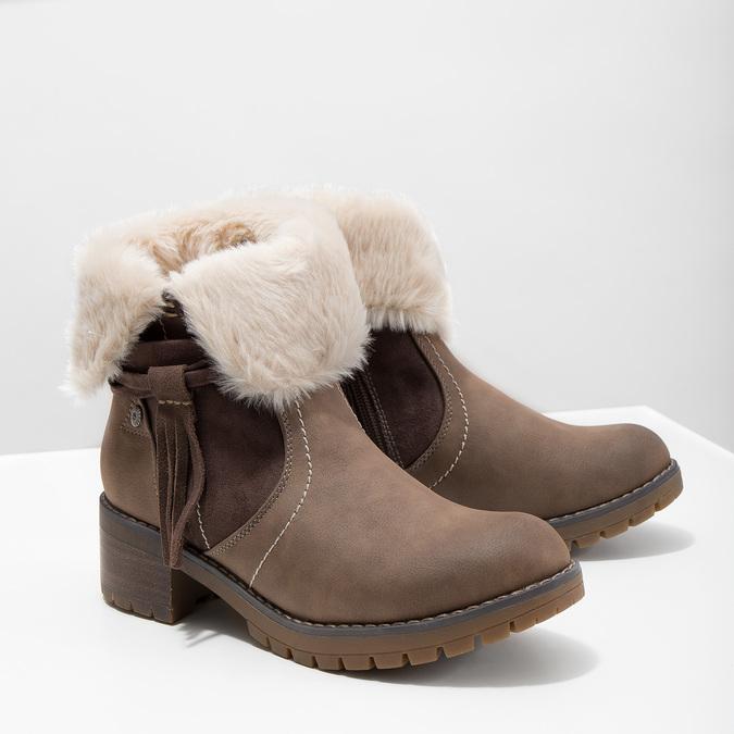 Kotníčková obuv s kožíškem bata, hnědá, 691-2633 - 18