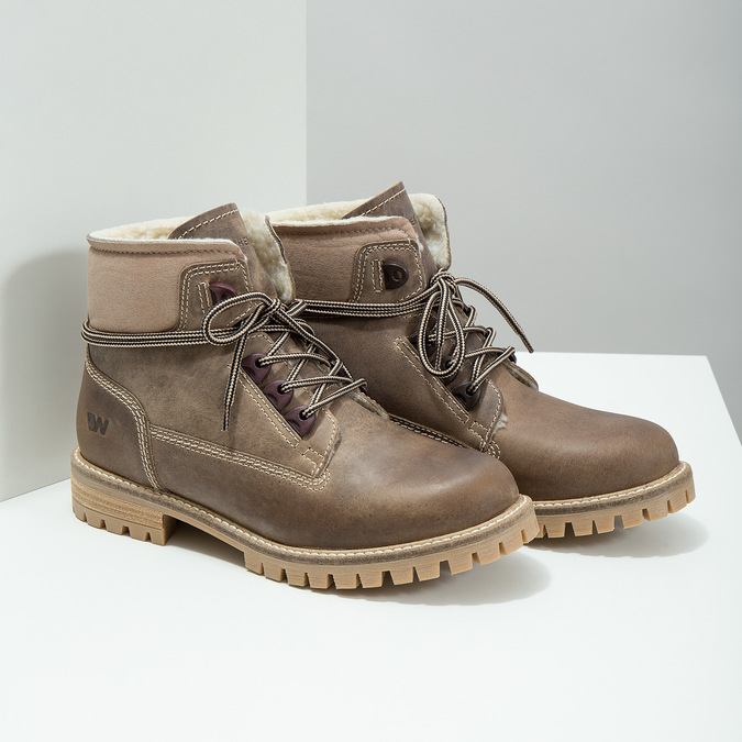 Kožená zimní obuv s kožíškem weinbrenner, hnědá, 594-2491 - 18