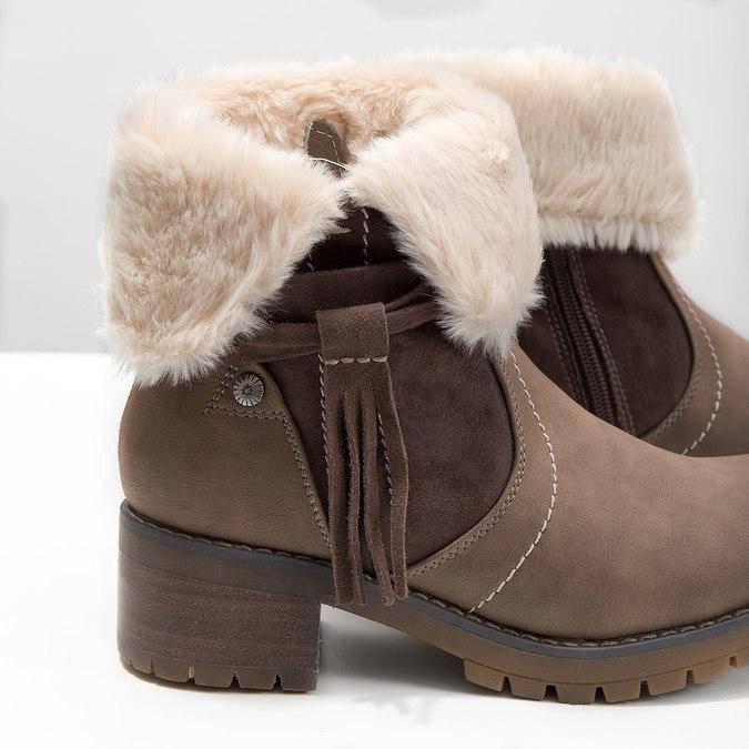 Kotníčková obuv s kožíškem bata, hnědá, 691-2633 - 14