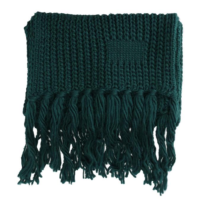 Pletená šála s třásněmi bata, modrá, zelená, 909-9622 - 26