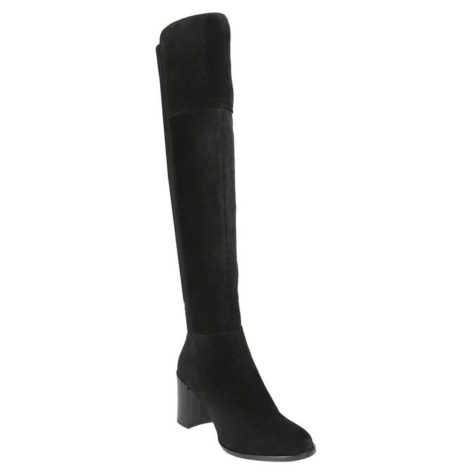 Kozačky z broušené kůže na podpatku bata, černá, 693-6664 - 13