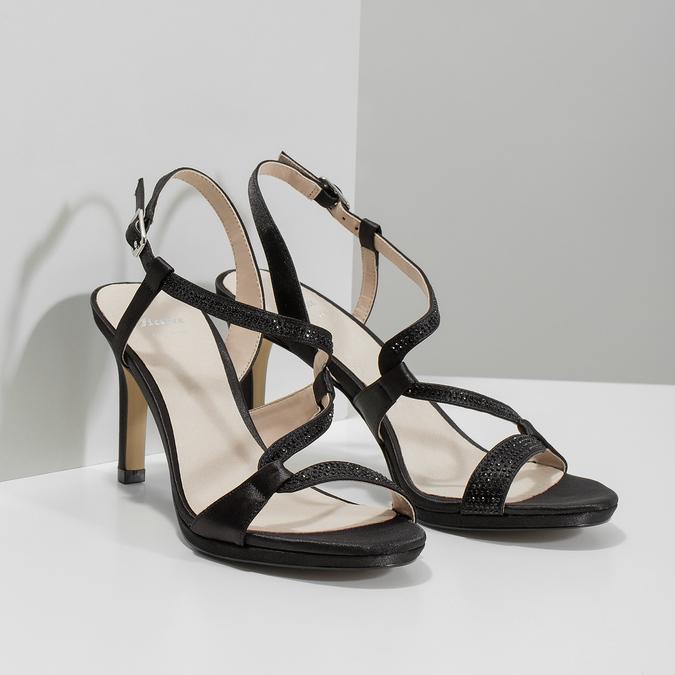 Dámské společenské sandály s kamínky bata, černá, 729-6611 - 26