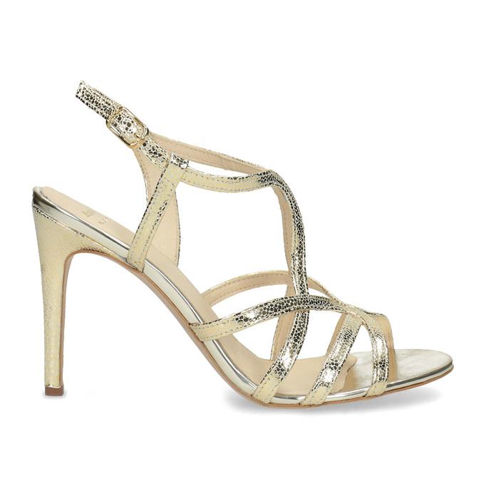 Zlaté společenské sandály z kůže bata, 726-8648 - 19