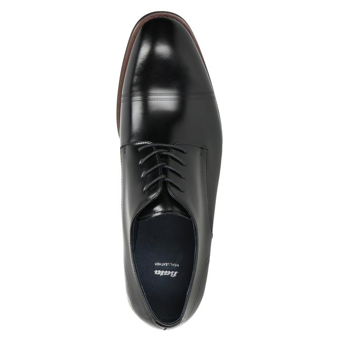 Černé kožené Derby polobotky bata, černá, 826-6681 - 15