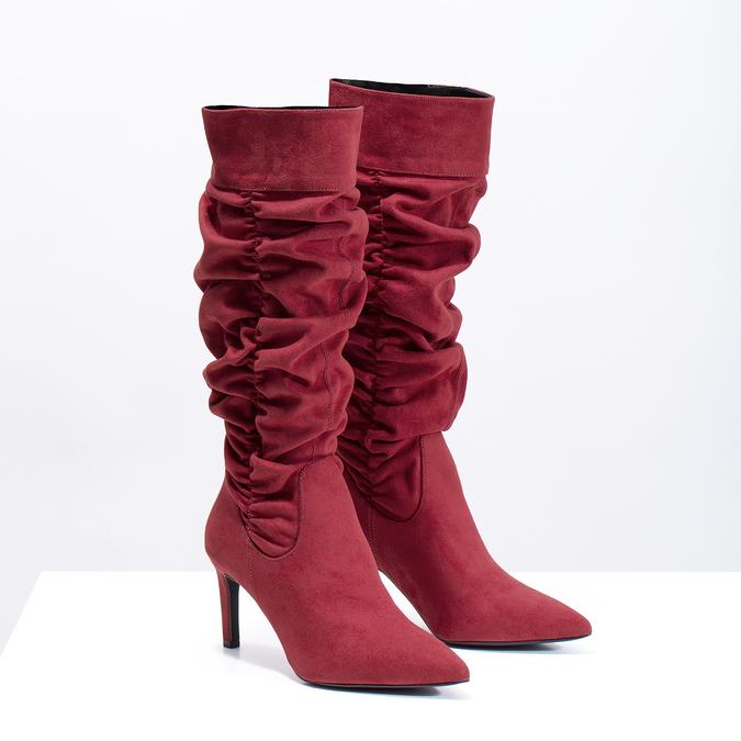 Dámské červené kozačky s řasením bata, červená, 799-5619 - 26