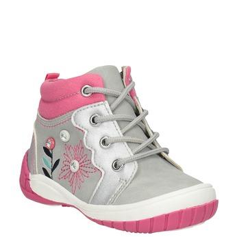 Kotníčková dětská obuv s výšivkou bubblegummers, šedá, 121-2619 - 13