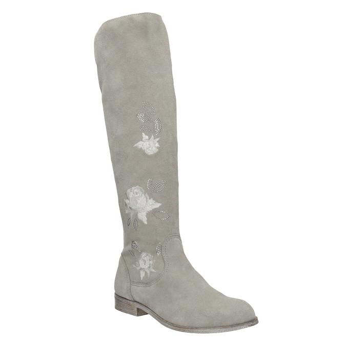 Kozačky s výšivkou a kamínky bata, šedá, 596-2687 - 13