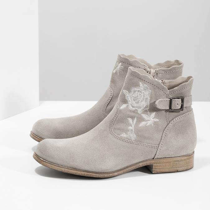 Kotníkové kozačky s výšivkou bata, šedá, 596-2686 - 16