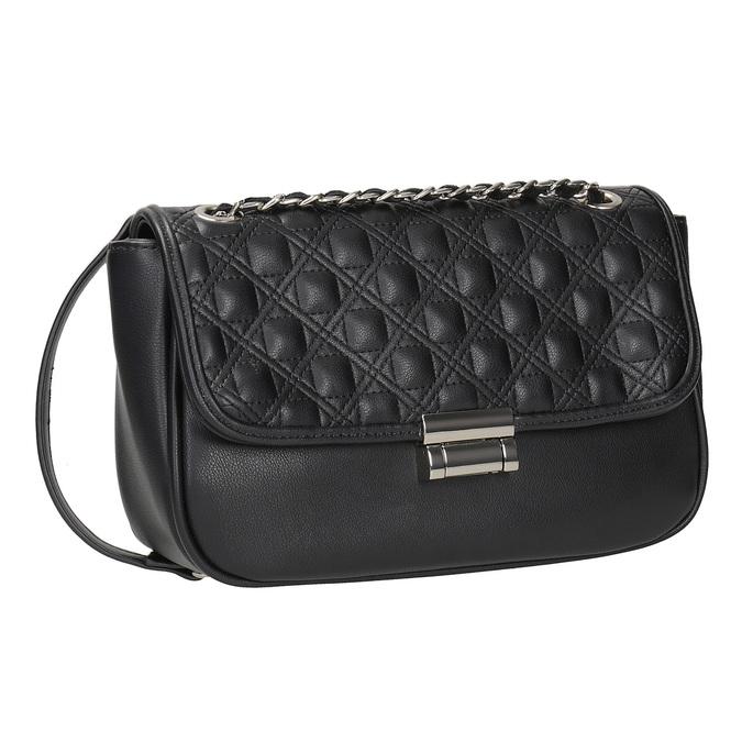 Crossbody kabelka z prošitím bata, černá, 961-6826 - 13