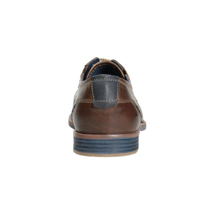 Hnědé kožené polobotky v ležérním stylu bata, hnědá, 826-4929 - 16
