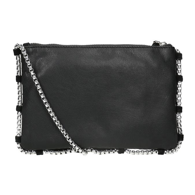 Kožená kabelka s prošíváním bata, černá, 963-6193 - 16