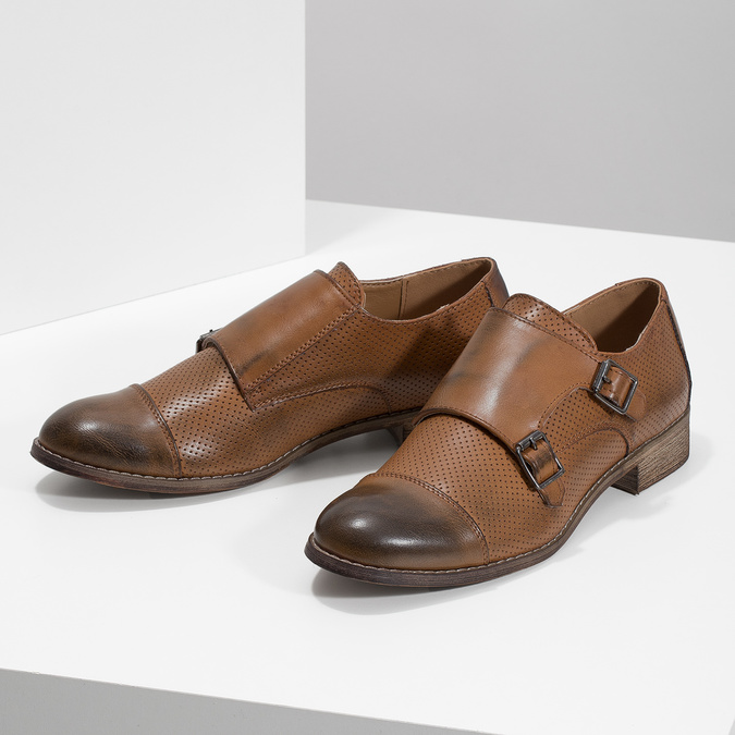 Dámské Monk Shoes bata, hnědá, 521-4609 - 16