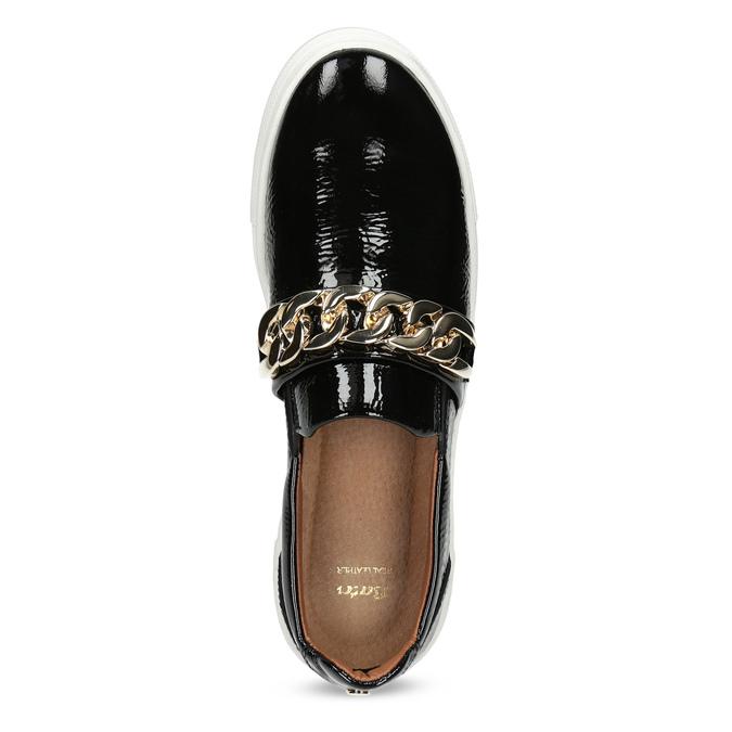 Kožená Slip-on obuv na flatformě bata, černá, 518-6601 - 17