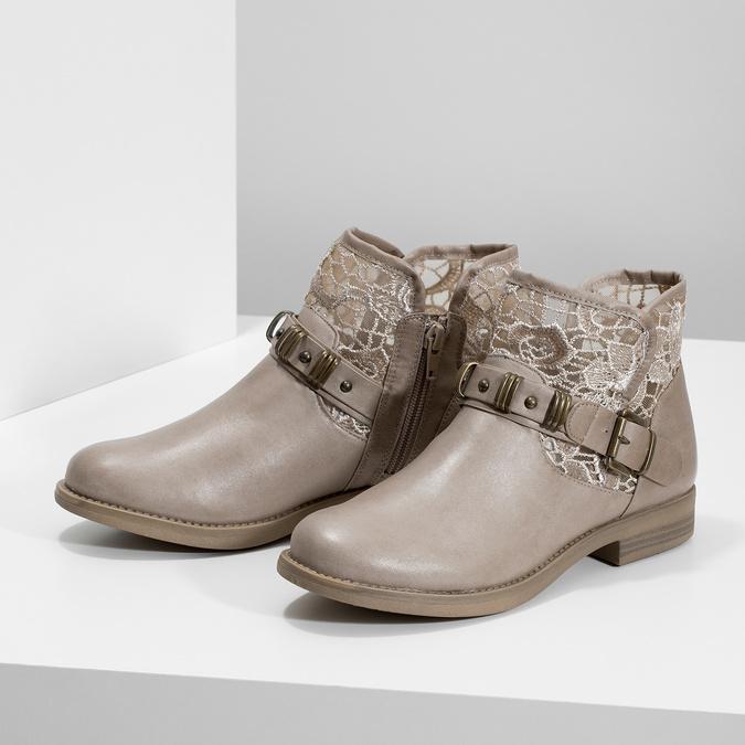 Dámské kozačky s krajkou bata, béžová, 591-2628 - 16