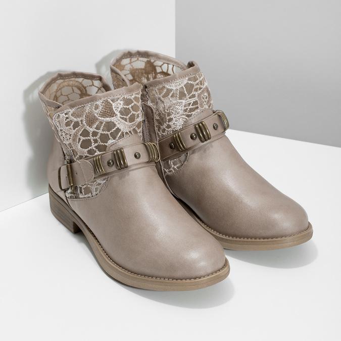 Dámské kozačky s krajkou bata, béžová, 591-2628 - 26