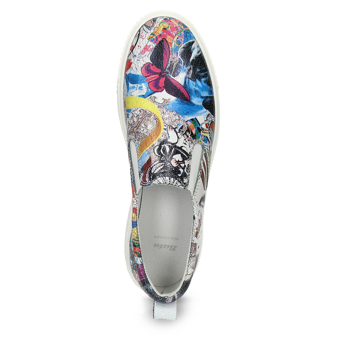 Kožená dámská Slip-on obuv s potiskem bata, 536-2608 - 17