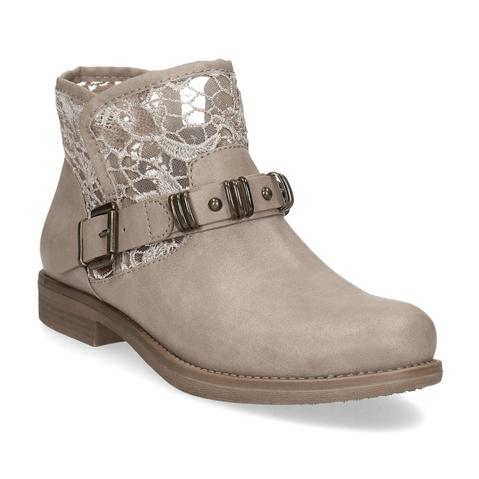 Dámské kozačky s krajkou bata, béžová, 591-2628 - 13