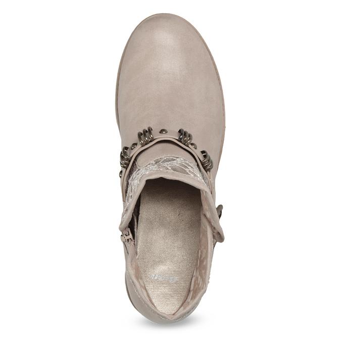 Dámské kozačky s krajkou bata, béžová, 591-2628 - 17