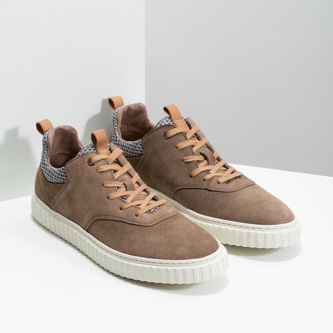 Ležérní tenisky z broušené kůže bata, hnědá, 843-4637 - 26
