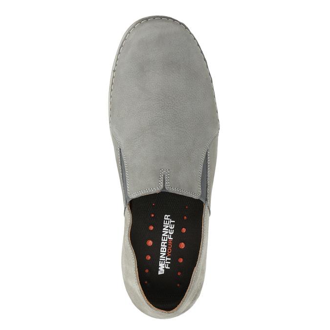 Pánské kožené Slip-on boty weinbrenner, šedá, 836-2602 - 17