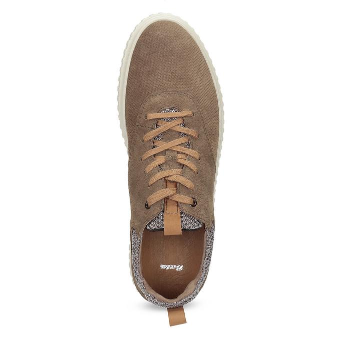 Ležérní tenisky z broušené kůže bata, hnědá, 843-4637 - 17