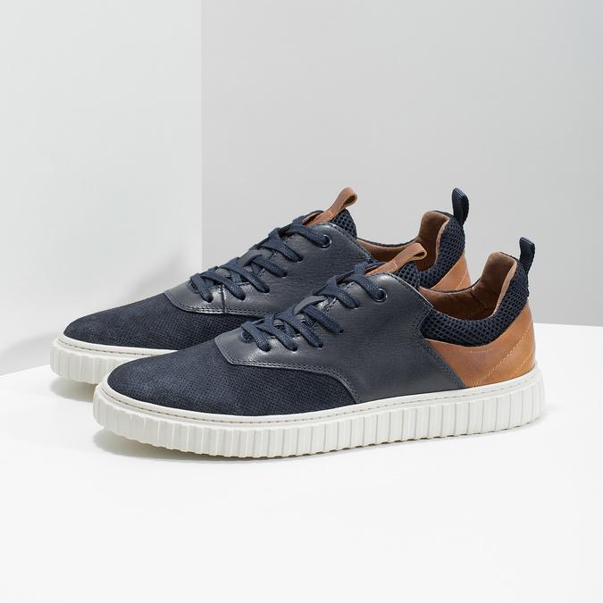 Ležérní kožené tenisky bata, modrá, 843-9637 - 16