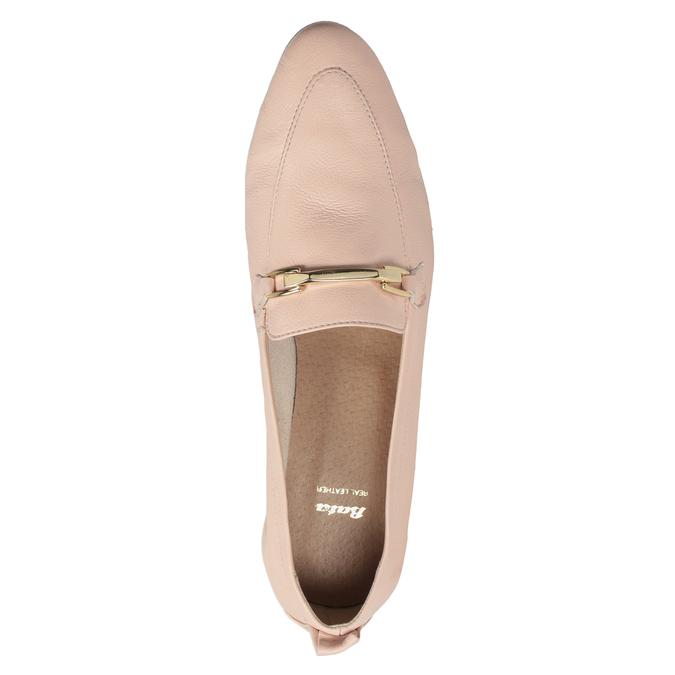 Kožené dámské mokasíny růžové bata, 516-5619 - 17