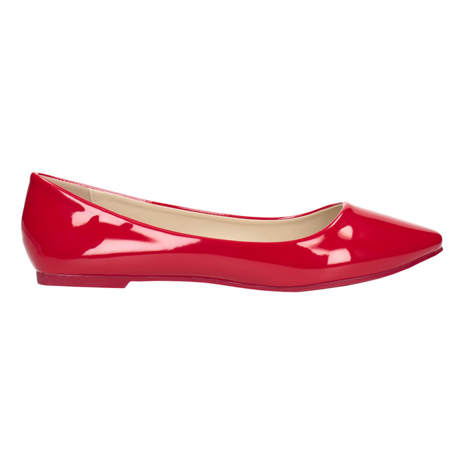 Červené lakované baleríny bata, červená, 521-0602 - 26